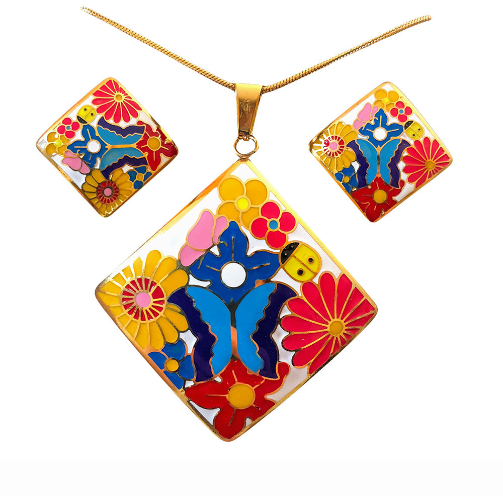 Jewelry Set for women Gold Plated Stainless Steel Butterfly Botanica Garden (Square)