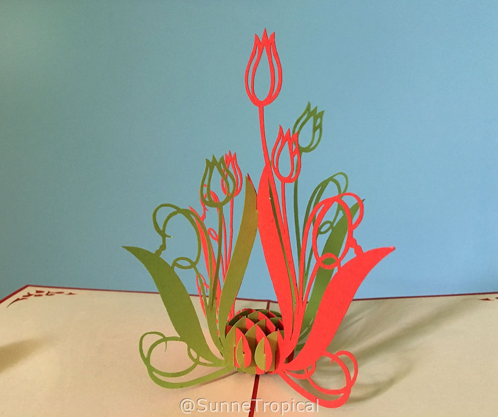 Pop up card TULIP flower 4.75 inch (FL004-1212)