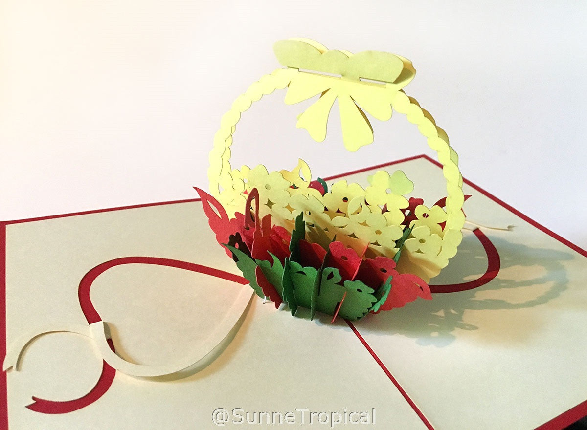 Pop up card Flower Basket 4x6 inch (FL006-1015)