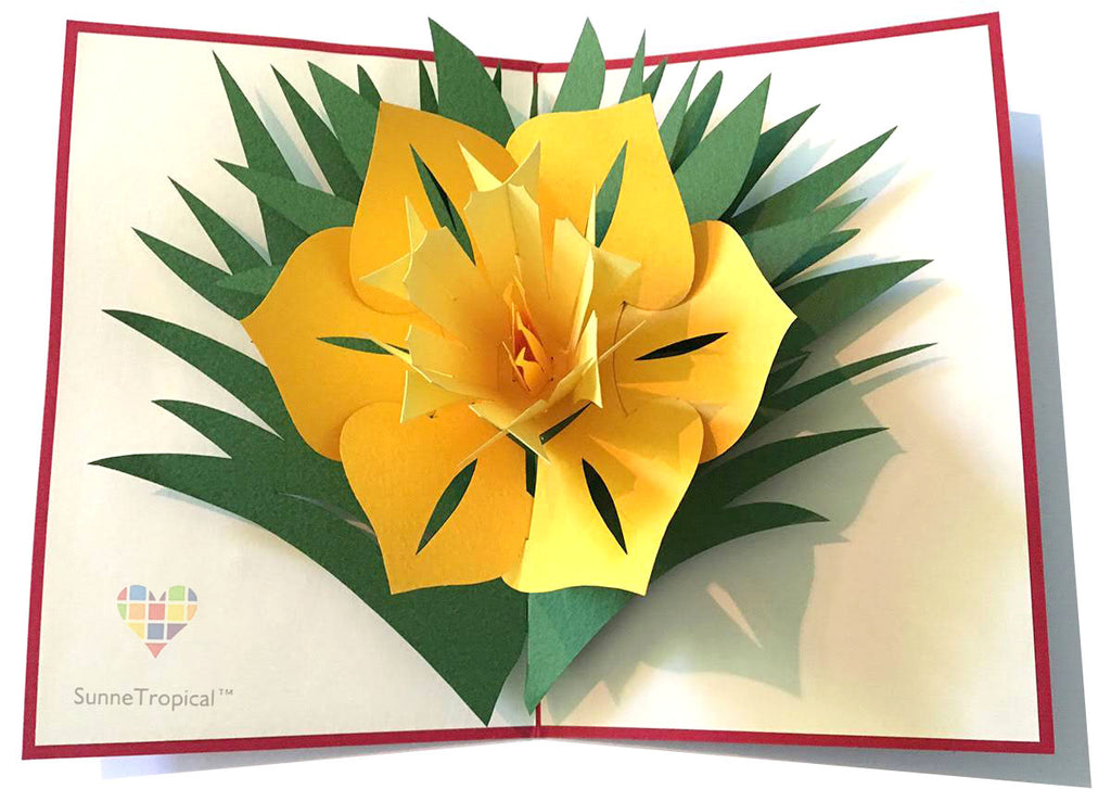 Pop up card Narcissus Daffodil Flower 4.75 x 7 inch (FL011-1218)