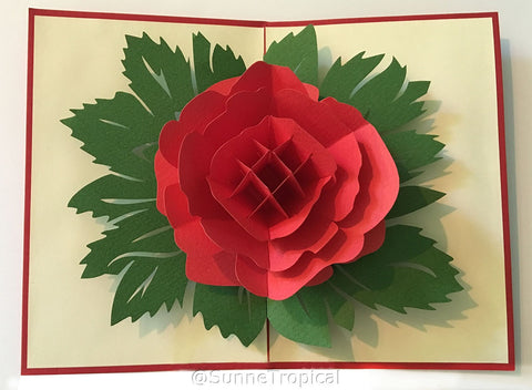 Pop up card Garden Rose Flower 4.75 x 7 inch (FL014-1218)