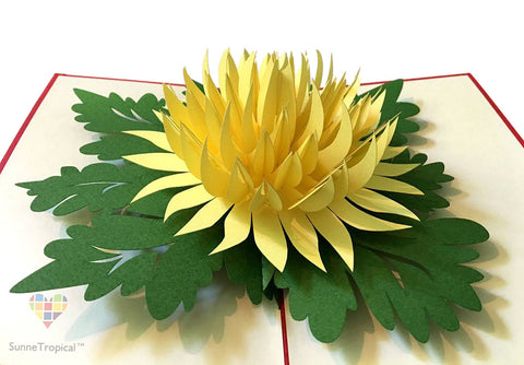 Pop up card Chrysanthemum Flower 4.75 x 7 inch (FL015-1218)