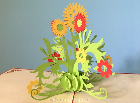 Pop up card Sunflower and Daisy 4.75 inch (FL021-1212)