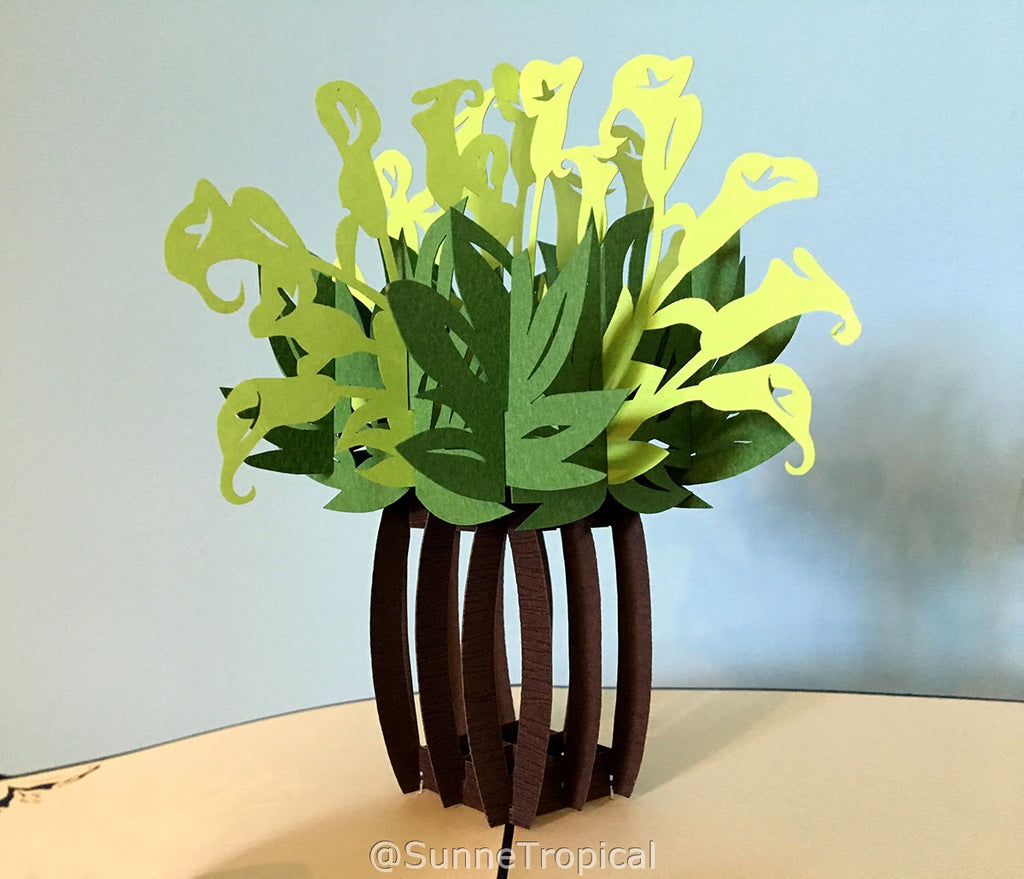Pop up card Calla Lily flower vase 5.80 inch (FL022-147147)