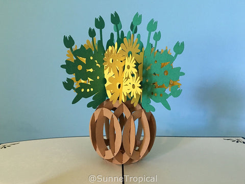 Pop up card FLORAL VASE flower 5.80 inch (FL023-147147)