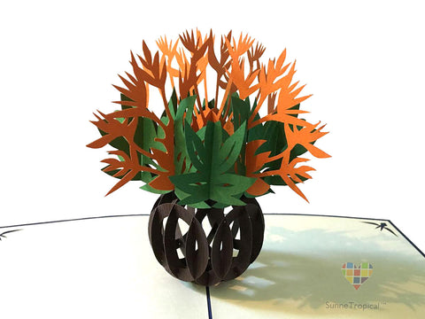 Pop up card Bird Of Paradise VASE flower 5.80 inch (FL024-147147)