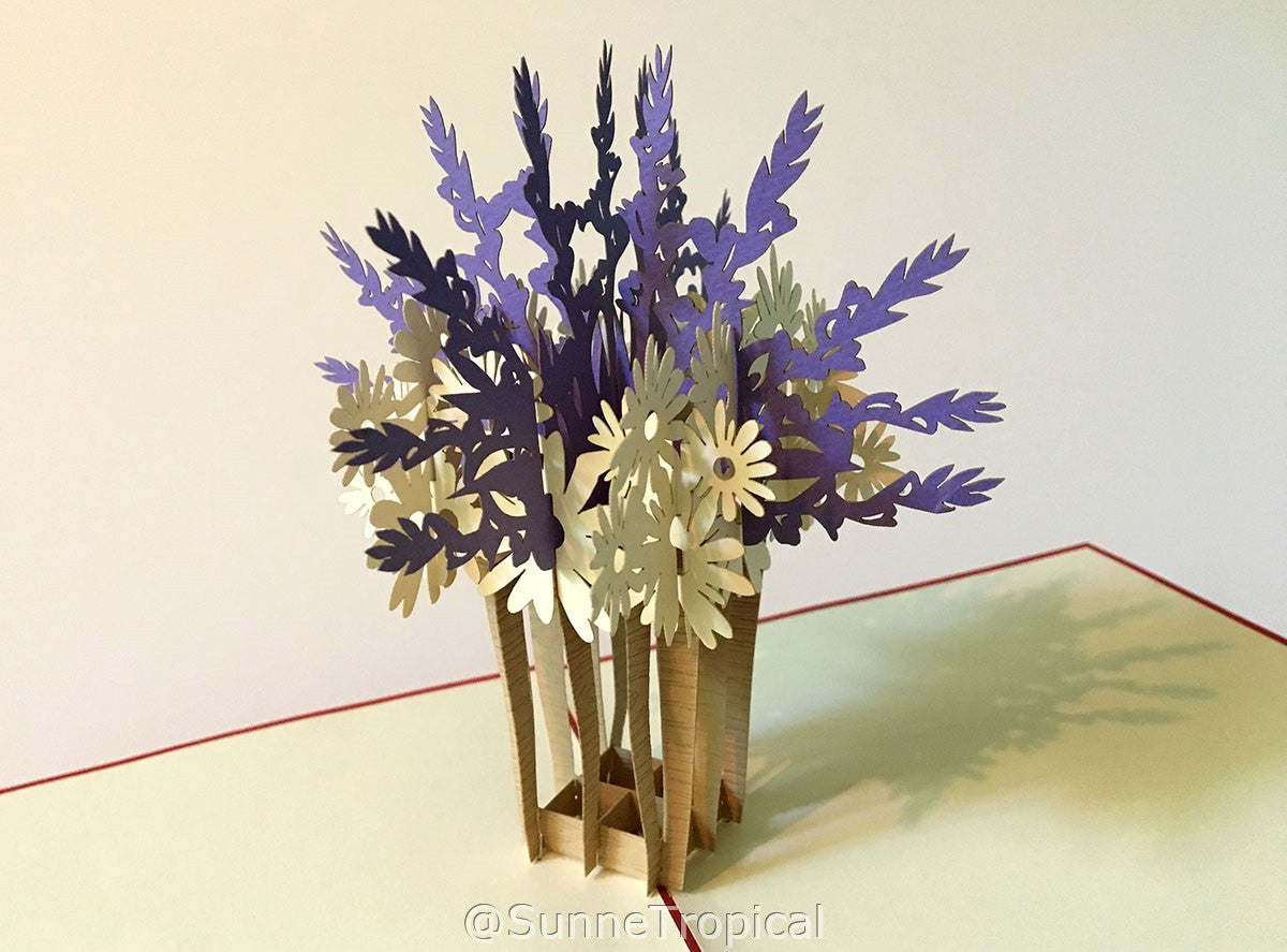 Pop up card Lavender VASE flower 5.80 inch (FL027-147147)