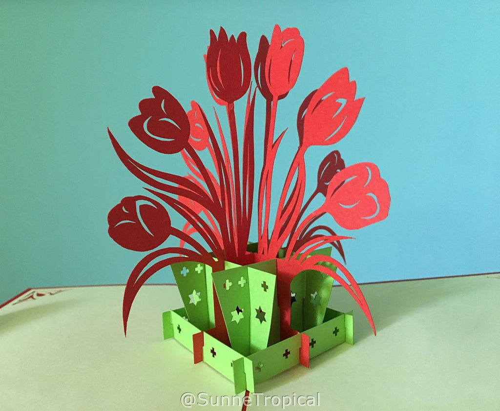 Pop up card Tulip Pot Plant flower 4.75 inch (FL035-1212)