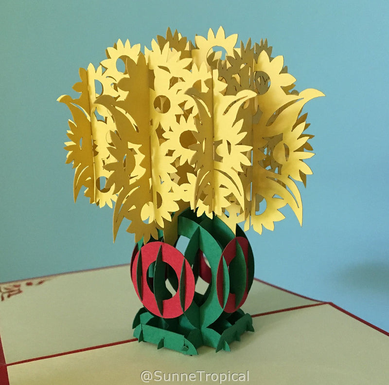 Pop up card Yellow Flower in Vase 4.75 inch (FL037-1212)