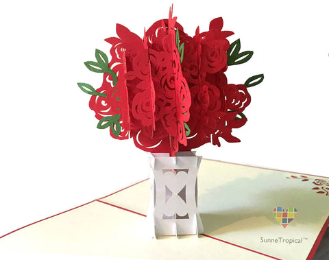 Pop up card Red Flower Heart VASE 5.90 inch (FL038-1515)