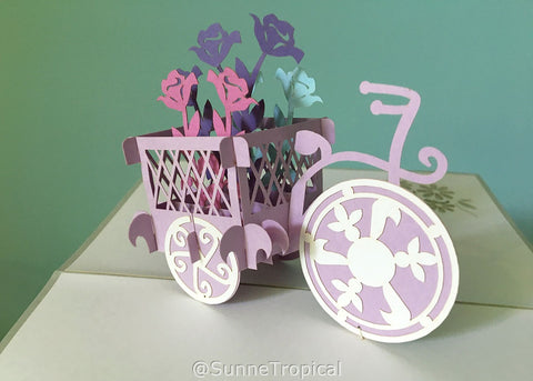 Pop up card Flowers Tricycle 4.75 x 7 inch (FL040-1218)