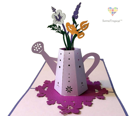 Pop up card Flowers in Water Pot 5.90 inch (FL044-1515)