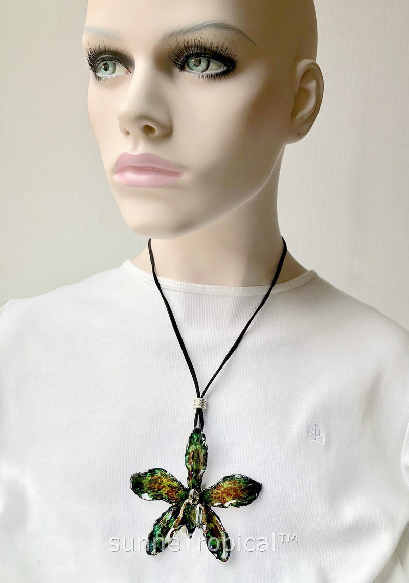 Real Flower Jewelry RARE Grammatophyllum TIGER Orchid - EMERALD green