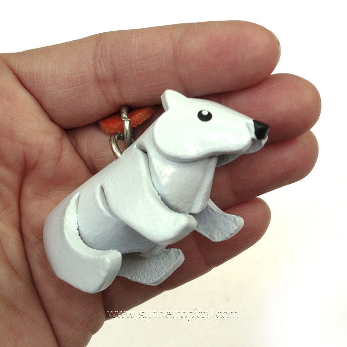 Polar Bear White Bear 3D Leather Key Chain