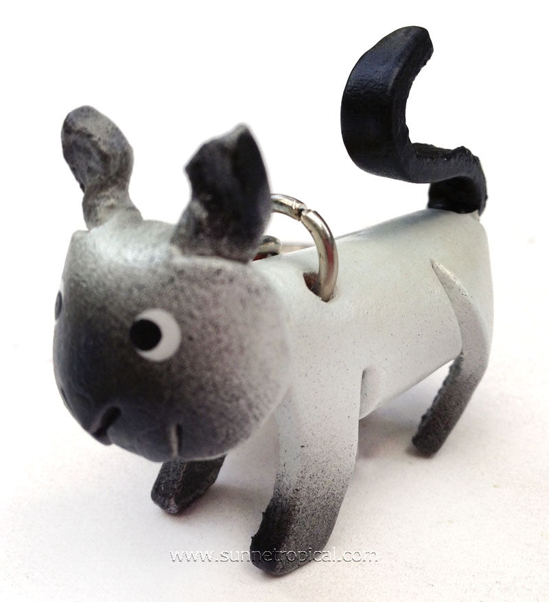 Siamese Cat 3D Leather Key Chain