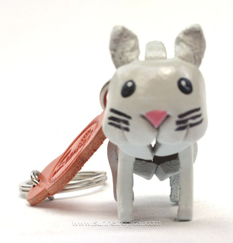 White Cat 3D Leather Key Chain
