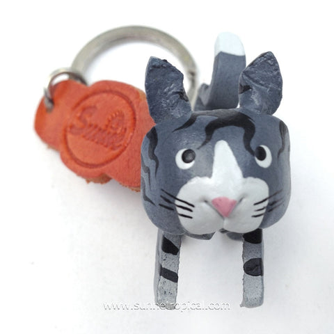 Grey Cat 3D Leather Key Chain