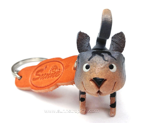 Grey Orange Cat 3D Leather Key Chain