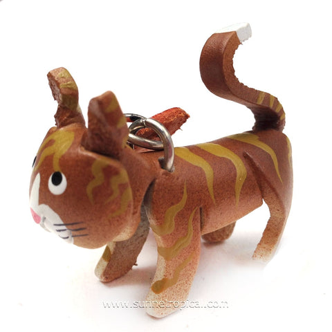 Brown Yellow Cat 3D Leather Key Chain