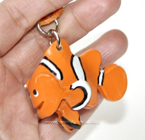 Clownfish 3D Leather Key Chain (Orange)