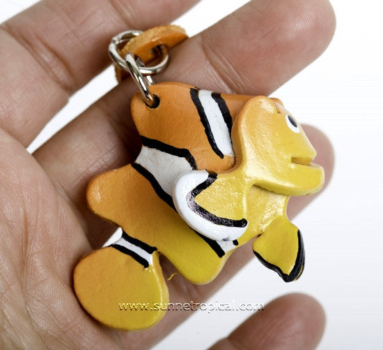 Clownfish 3D Leather Key Chain (Yellow)