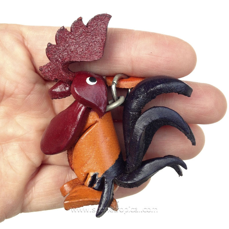 Rooster Chicken 3D Leather Key Chain (02Color)