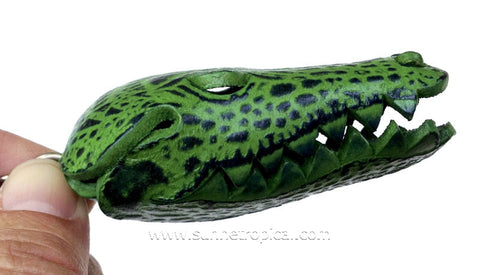 Crocodile aligator 3D Leather Key Chain (Green Head)