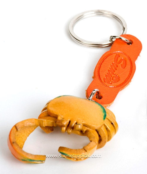 Fiddler Crab 3D Leather Key Chain (Yellow)