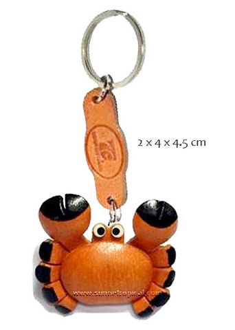 Cute Crab 3D Leather Key Chain