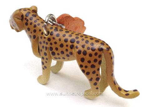 Cheetah, Big Cat, Wild Cat 3D Leather Key Chain