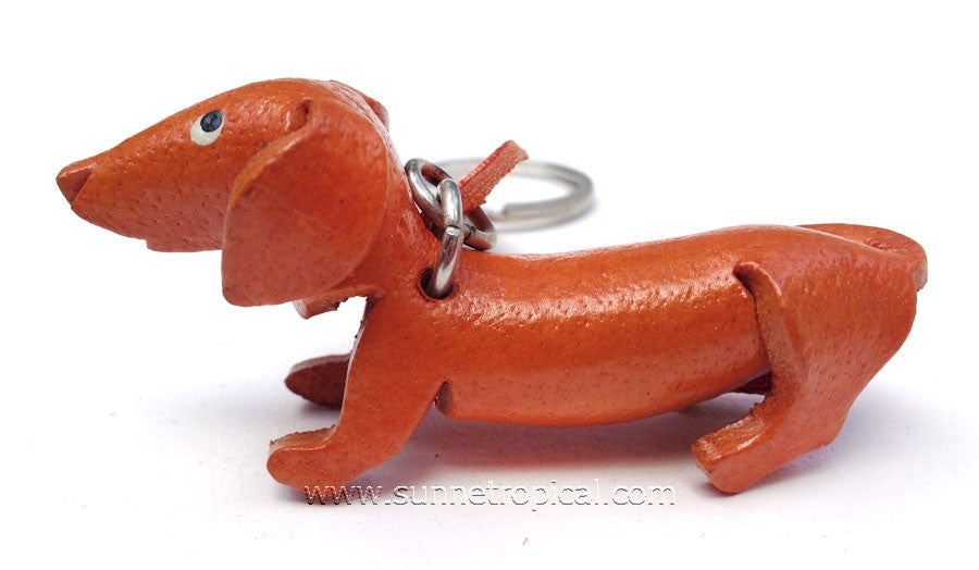 DACHSHUND Dog 3D Leather Key Chain (Orange)