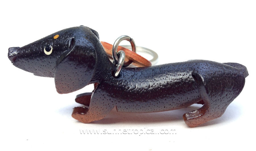 DACHSHUND Dog 3D Leather Key Chain (Black)