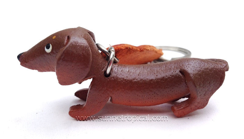 DACHSHUND Dog 3D Leather Key Chain (Brown)