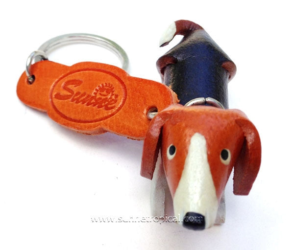 DACHSHUND Dog 3D Leather Key Chain (Color)