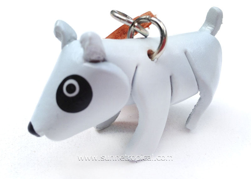 Bull Terrier Dog 3D Leather Key Chain (White)