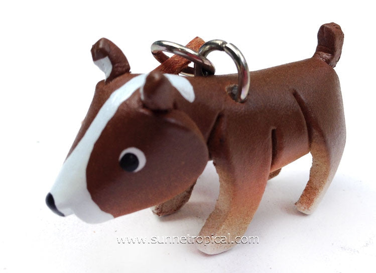 Bull Terrier Dog 3D Leather Key Chain (Brown)
