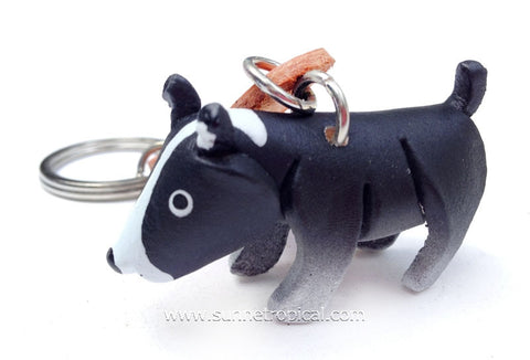 Bull Terrier Dog 3D Leather Key Chain (Black)