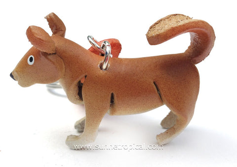Basenji Dog 3D Leather Key Chain (Brown)