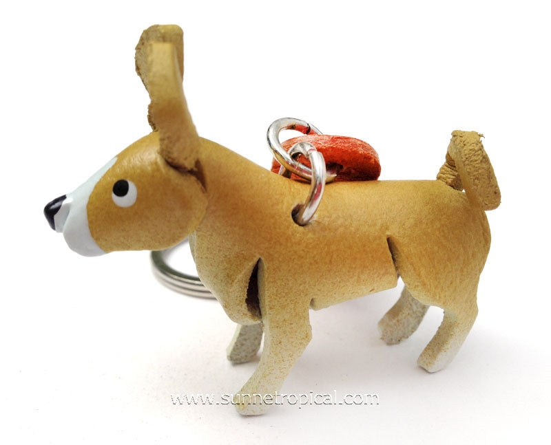 Basenji Dog 3D Leather Key Chain (Yellow)