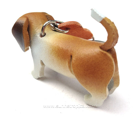 Basset Hound Dog 3D Leather Key Chain (Brown)