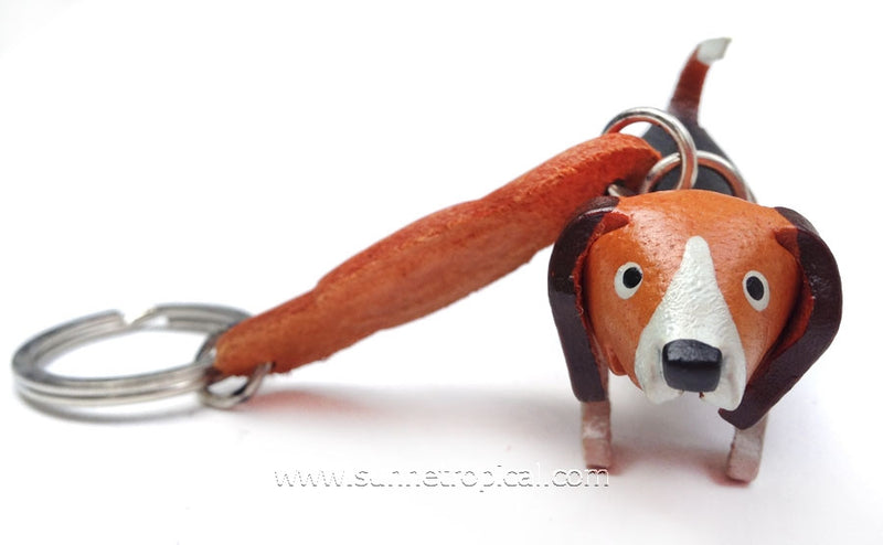 Basset Hound Dog 3D Leather Key Chain (Black)