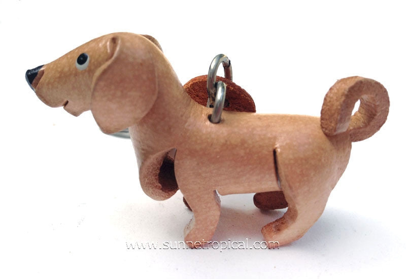 Yellow Labrador Retriever Dog 3D Leather Key Chain