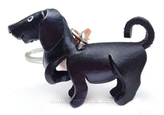 Black Labrador Retriever Dog 3D Leather Key Chain