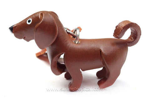 Chocolate Labrador Retriever Dog 3D Leather Key Chain
