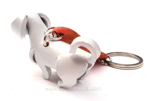 White Labrador Retriever Dog 3D Leather Key Chain