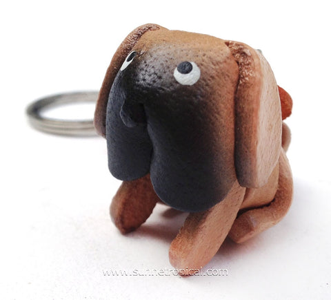 Bulldog Dog 3D Leather Key Chain (Light brown)