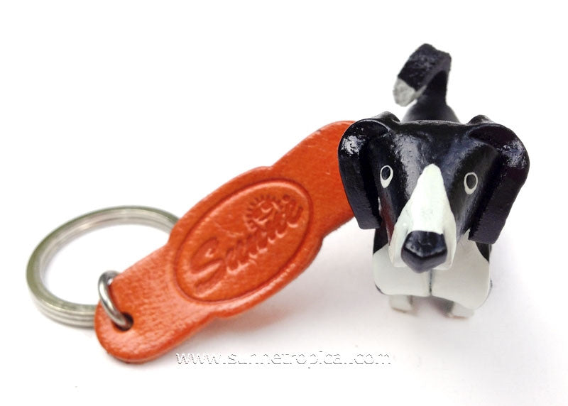 Border Collie Dog 3D Leather Key Chain
