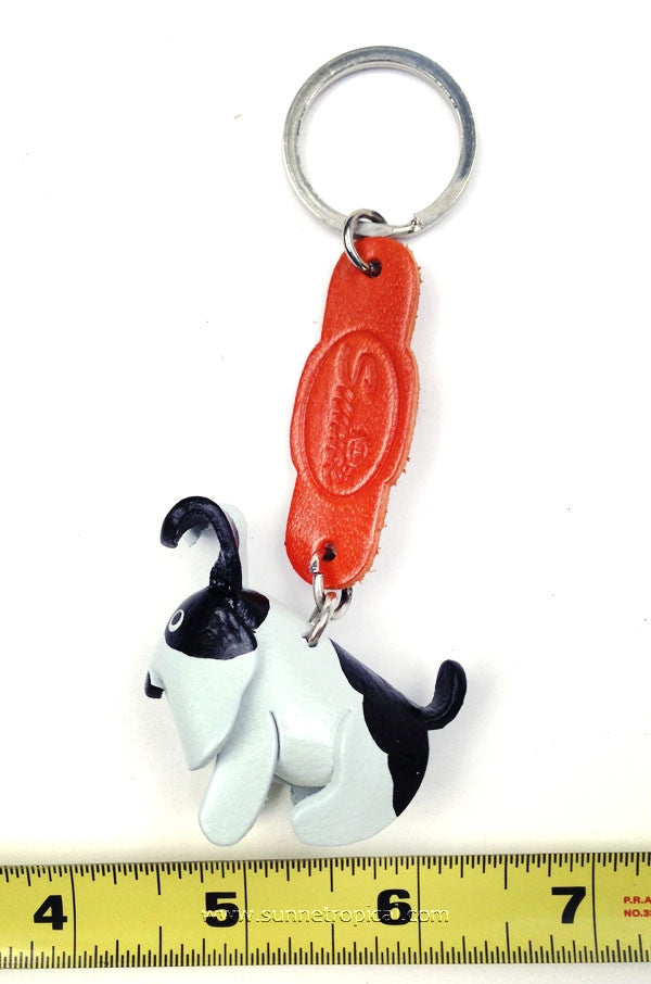 Doggie Dog 3D Leather Key Chain (White Black)