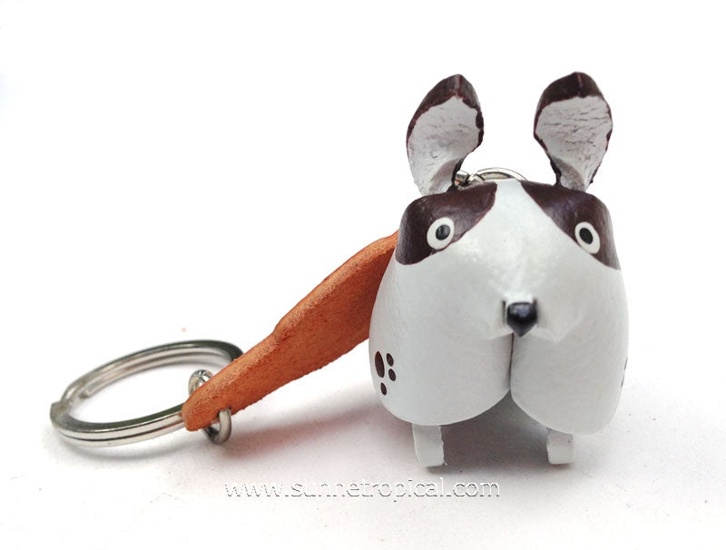 Doggie Dog 3D Leather Key Chain (White Brown)