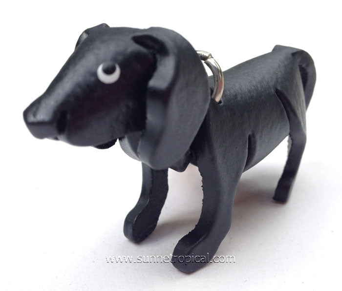 Black Golden Retriever Dog 3D Leather Key Chain